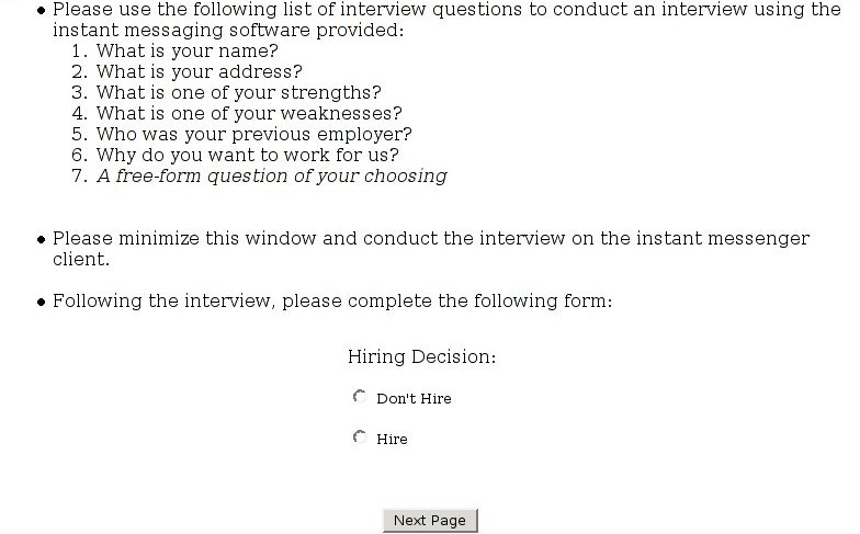 chapter interview experiment your task interviewer