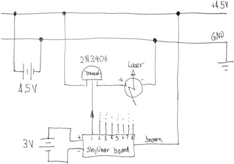 figure 9: circuit sketch for laser pointer diode, switched by the output of  the led via a pnp transistor