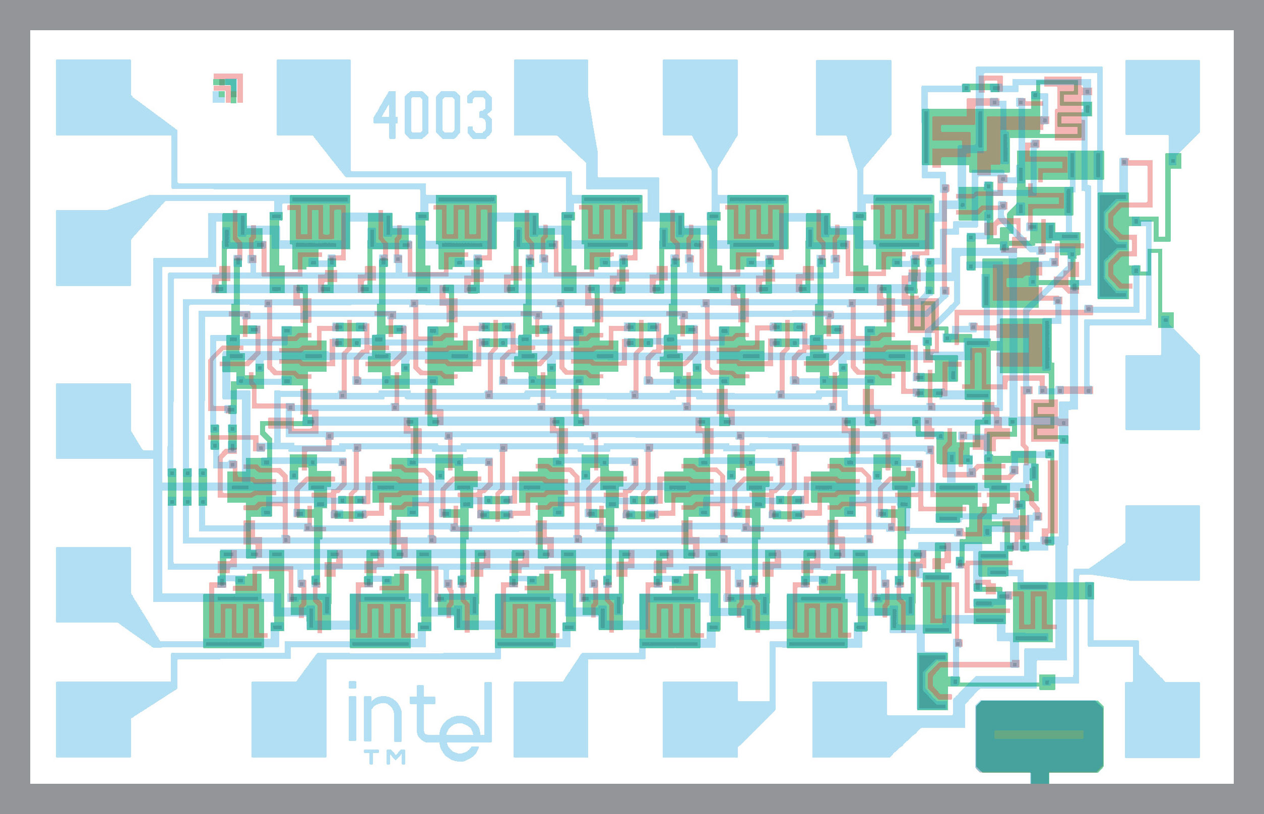 Complete Artwork Schematics And Simulator For Intel Mcs 4 4004 Cpu Circuit Diagram The 4003 10 Bit Shift Register I O Expander